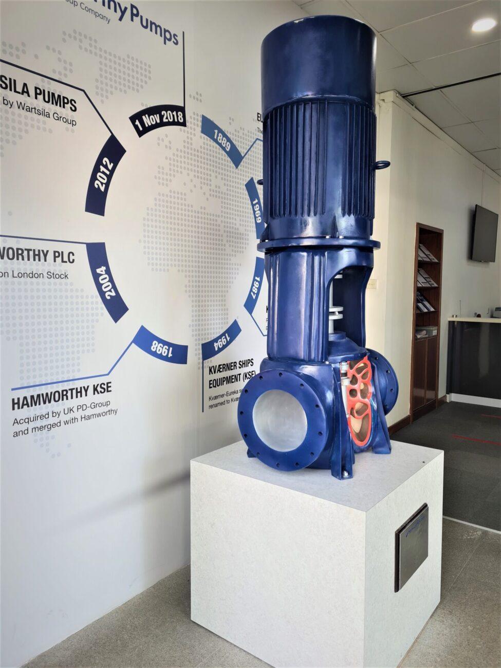 Small-scale replica pump ready for exhibition